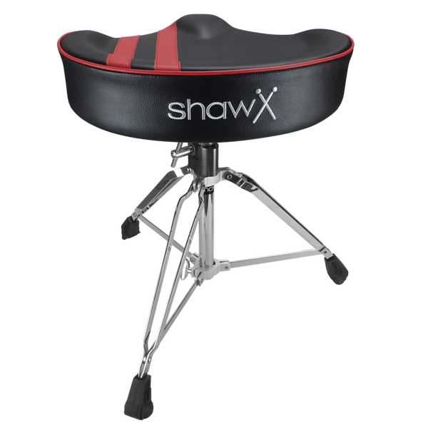 Sillín de Batería Shaw Pro Saddle Black w/red stripe Vinyl
