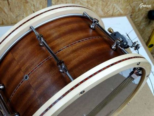 """Snare Drum Groove Drum Co - Mahogany Inlayed w/wood hoops 14x8"""""""