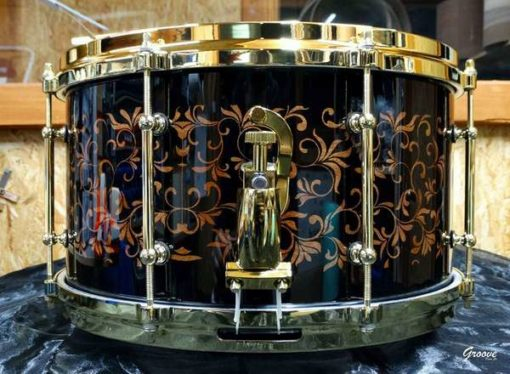 Snare Drum Groove Drum Co - Piano Black Plants over Mahogany 14x8""