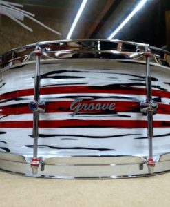 Snare Drum Groove Drum Co - Delmar white/red oyster over Maple 14x6,5""