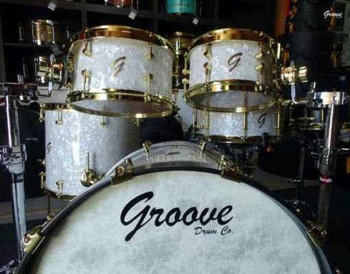 Batería Groove Drum Co - White Pearl over Maple/Bubinga shell