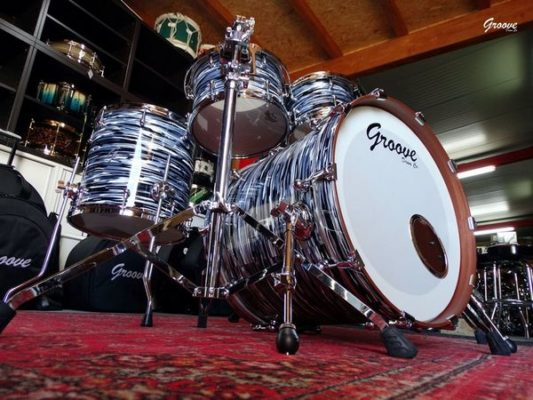 Batería Groove Drum Co - 70s Black Oyster over Mahogany Studio Set